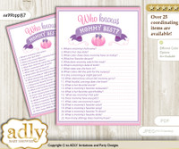 Pink Purple Pumpkin Who Knows Mommy Best Digital Printable Game Card