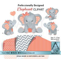 Coral and Gray Baby Elephants Peanut Balloon Clipart