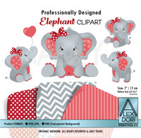 Red and Gray Baby Elephants Peanut Balloon Clipart
