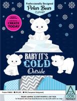 Winter Baby Polar Bear Set Clipart