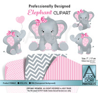 Baby Pink and Gray Baby Elephants Peanut Balloon Clipart