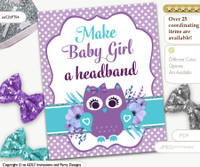 Purple and Teal Owl Baby Girl Headband Baby Shower Game DIY