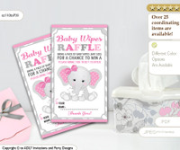 Wipes Raffle Ticket for Baby Showers pink elephants gray DIY girl