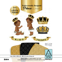 Royal black and gold African-Ameircan baby clipart, prince king digital clipart,crown clip art