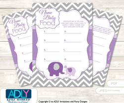 Girl Elephant Guess Baby Food Game or Name That Baby Food Game for a Baby Shower,  Purple Grey Chevron