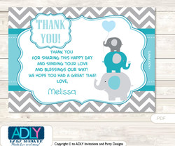 Boy Elephant Thank you Printable Card with Name Personalization for Baby Shower or Birthday Party