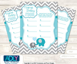 Boy Elephant Guess Baby Food Game or Name That Baby Food Game for a Baby Shower,  Turquoise Chevron