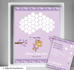 PurpleBear  Guest Book Alternative for a Baby Shower, Creative Nursery Wall Art Gift,  Teddy,  Polka
