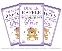 PurpleBear Diaper Raffle Printable Tickets for Baby Shower,  Teddy,  Polka