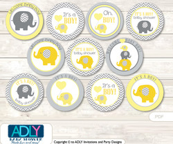 Baby Shower  Boy Elephant Cupcake  Toppers Printable File for Little  Boy and Mommy-to-be, favor tags, circle toppers,  Chevron,  Yellow Grey