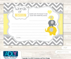 Yellow Grey Boy Elephant Words of Wisdom or an Advice Printable Card for Baby Shower,  Chevron