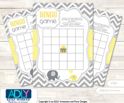 Printable  Yellow Grey Elephant Bingo  Game Printable Card for Baby  Boy Shower DIY grey,  Yellow Grey,  Chevron