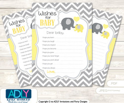 Boy Elephant Wishes for a Baby, Well Wishes for a Little Elephant Printable Card,  Chevron,  Yellow Grey