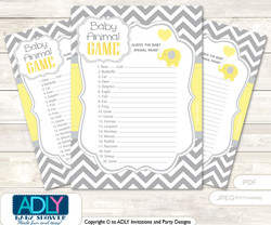 Printable  Boy Elephant Baby Animal Game, Guess Names of Baby Animals Printable for Baby  Elephant shower,  Yellow Grey,  Chevron