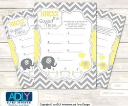 Boy Elephant Dirty Diaper Game or Guess Sweet Mess Game for a Baby Shower  Yellow Grey,  Chevron
