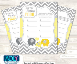Boy Elephant Guess Baby Food Game or Name That Baby Food Game for a Baby Shower,  Yellow Grey Chevron