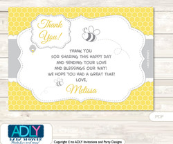 Babee Bumble Thank you Printable Card with Name Personalization for Baby Shower or Birthday Party