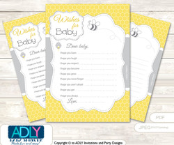 Babee Bumble Wishes for a Baby, Well Wishes for a Little Bumble Printable Card,  Neutral,  Bee