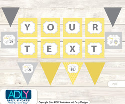 Personalized  Babee Bumble Printable Banner for Baby Shower, Bee,  Neutral
