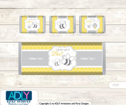Babee Bumble Chocolate Bar Wrapper and Nuggets Candy Wrapper Label for Baby Babee Shower  Bee ,  Neutral
