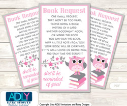 Request a Book Instead of a Card for Spring Owl Baby Shower or Birthday, Printable Book DIY Tickets, Pink, Grey