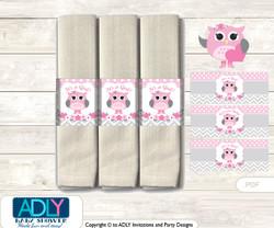 Printable Spring Owl Napkin Ring Label or Napkin Holders for Baby Shower, Grey, Pink