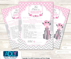 Printable Spring Owl Price is Right Game Card for Baby Owl Shower, Grey, Pink