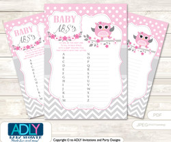 Spring Owl Baby ABC's Game, guess Animals Printable Card for Baby Owl Shower DIY –Pink