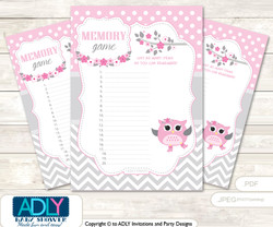 Spring Owl Memory Game Card for Baby Shower, Printable Guess Card, Grey, Pink