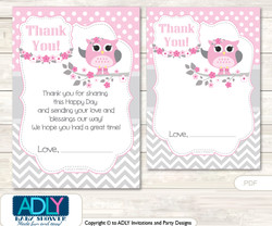 Spring Owl Thank you Cards for a Baby Spring Shower or Birthday DIY Grey, Pink