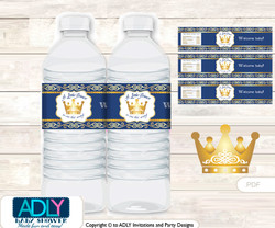 Prince Royal Water Bottle Wrappers, Labels for a  Royal  Baby Shower,  Gold,  Blue