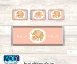 Peach Elephant Chocolate Bar Wrapper and Nuggets Candy Wrapper Label for Baby Peach Shower Gold , Coral