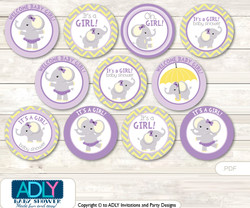 Baby Shower Purple Elephant Cupcake Toppers Printable File for Little Purple and Mommy-to-be, favor tags, circle toppers, Yellow, Grey
