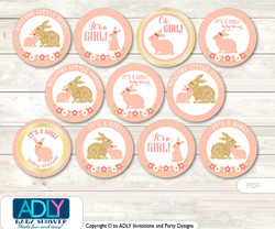 Baby Shower Girl Bunny Cupcake Toppers Printable File for Little Girl and Mommy-to-be, favor tags, circle toppers, Gold, Coral
