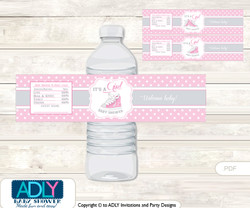 Girl Sneakers Water Bottle Wrappers, Labels for a Sneakers  Baby Shower, Pink, All Star
