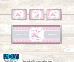 Girl Sneakers Chocolate Bar Wrapper and Nuggets Candy Wrapper Label for Baby Girl Shower  Pink , All Star