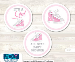 Printable  Girl Sneakers Candy Kisses for Baby Girl Shower DIY Pink , All Star