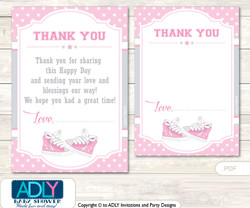 Girl  Sneakers Thank you Cards for a Baby Girl Shower or Birthday DIY Pink, All Star
