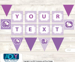 Personalized Girl Lamb Printable Banner for Baby Shower, Ship, Purple