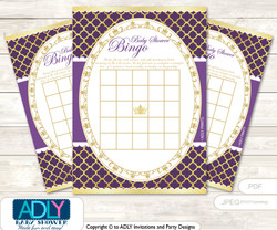 Printable Gold Princess Bingo Game Printable Card for Baby Dark Purple Shower DIY grey, Gold, Royal