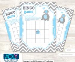 Printable Boy Elephant Bingo Game Printable Card for Baby Grey Blue Shower DIY grey, Boy, Chevron