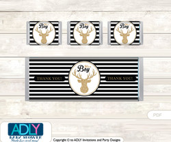 Boy Buck Chocolate Bar Wrapper and Nuggets Candy Wrapper Label for Baby Boy Shower  Black , Stripes