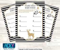 Boy Buck Guess Baby Food Game or Name That Baby Food Game for a Baby Shower, Black Stripes