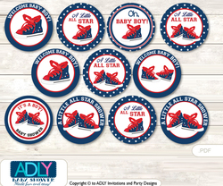Baby Shower All Star Sneaker Cupcake Toppers Printable File for Little All Star and Mommy-to-be, favor tags, circle toppers, Navy , Navy