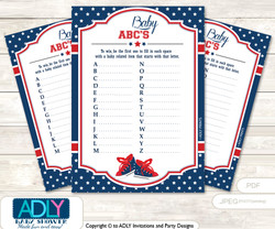 All Star Sneaker Baby ABC's Game, guess Animals Printable Card for Baby Sneaker Shower DIY –Navy