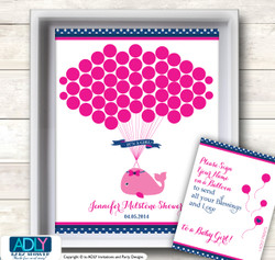 Girl Whale Guest Book Alternative for a Baby Shower, Creative Nursery Wall Art Gift, Hot Pink, Nautical