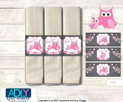 Printable Girl Owl Napkin Ring Label or Napkin Holders for Baby Shower, Forest, Spring