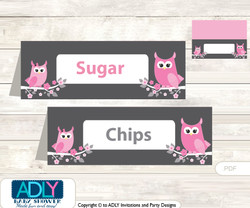 Printable Girl Owl Buffet Tags or Food Tent Labels  for a Baby Shower or Birthday , Forest, Spring