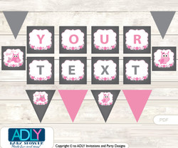 Personalized Girl Owl Printable Banner for Baby Shower, Forest, Spring