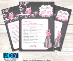 Printable Girl Owl Price is Right Game Card for Baby Owl Shower, Forest, Spring